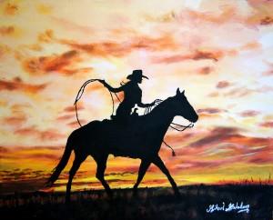 Mikael Malmborg akryl cowgirl